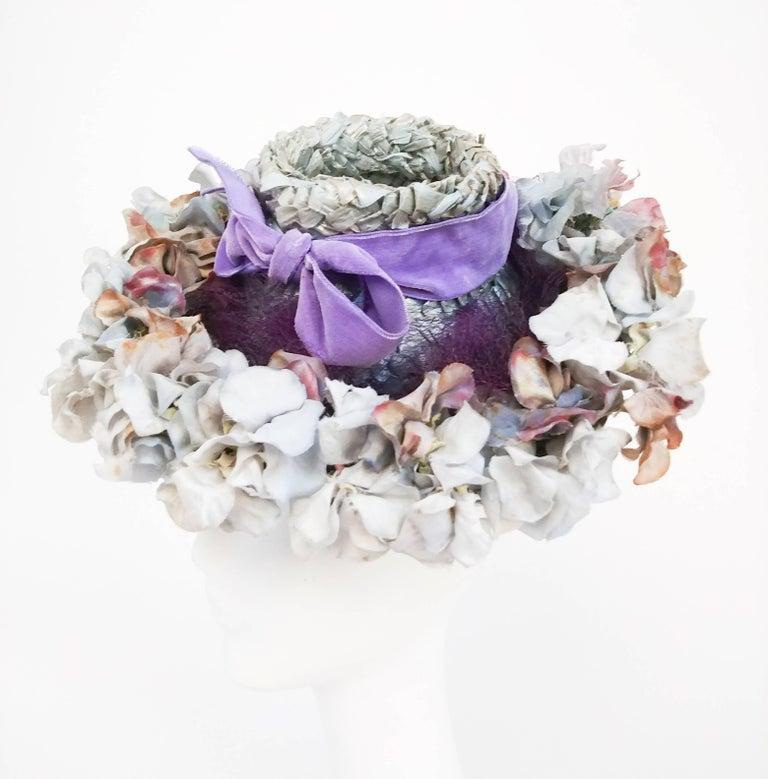 104c201259288 Gray Flower Hat with Lavender Velvet Ribbon