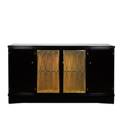 1940s Four Doors Sideboard, Stained Walnut, Brass Railings, Glass, Italy