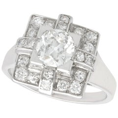 1940s French 1.53 Carat Diamond and Platinum Art Deco Cocktail Ring