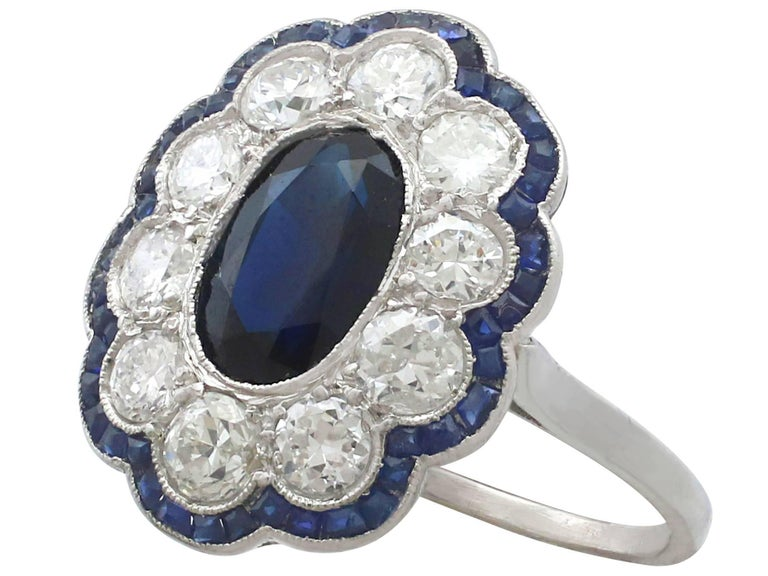1940s French 1.66 Carat Sapphire and 1.60 Carat Diamond Platinum Cluster Ring In Excellent Condition For Sale In Jesmond, Newcastle Upon Tyne