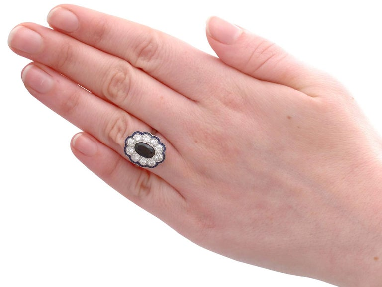 1940s French 1.66 Carat Sapphire and 1.60 Carat Diamond Platinum Cluster Ring For Sale 2