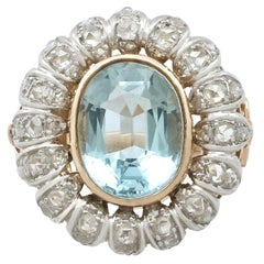1940s French 3.71 Carat Aquamarine and Diamond Yellow Gold Cluster Ring