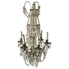 1940s French 6-arm Crystal Chandelier