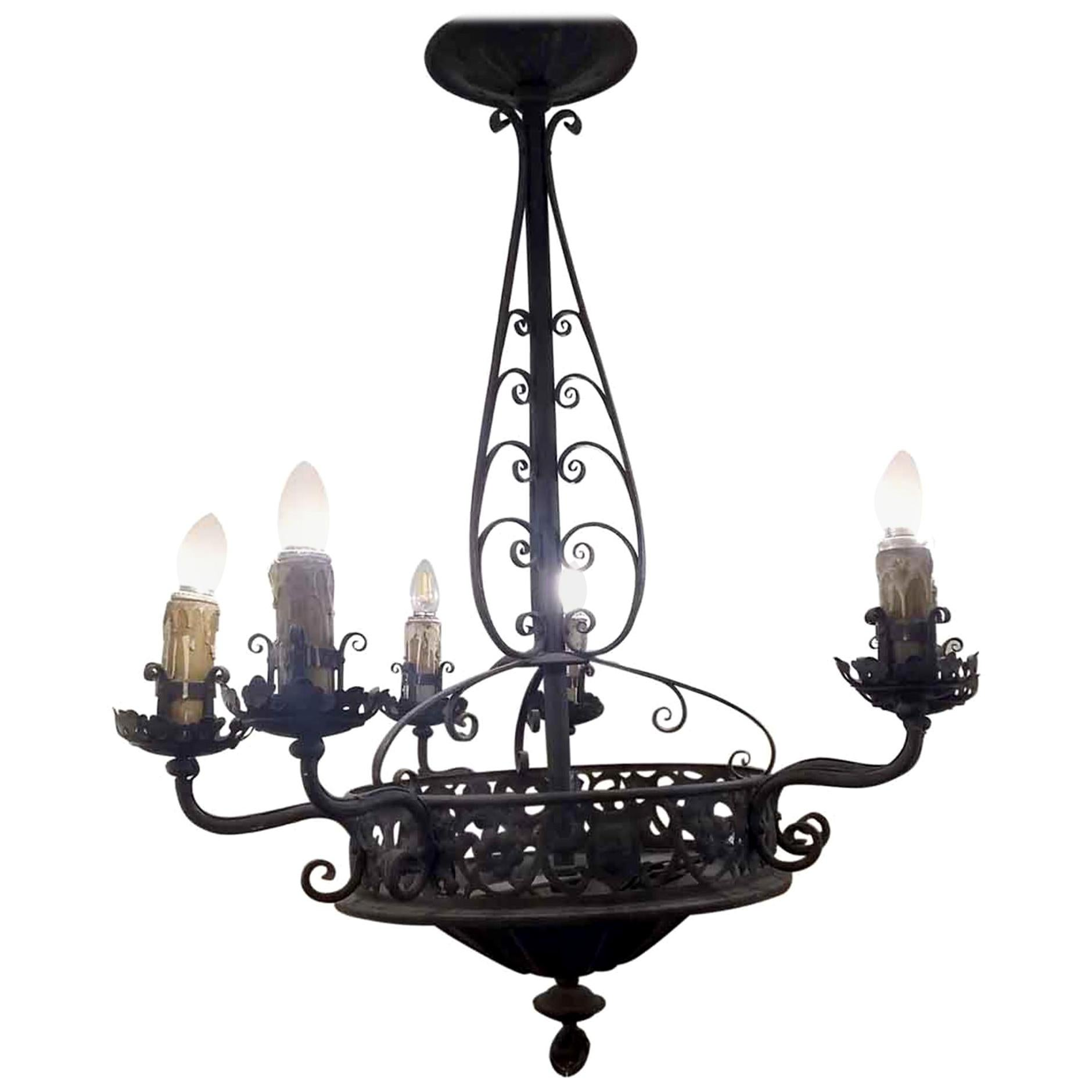1940s French 6-Arm Wrought Iron Chandelier