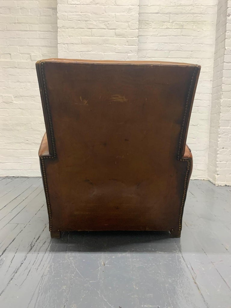 1940s French Art Deco Leather Lounge Chair For Sale 3
