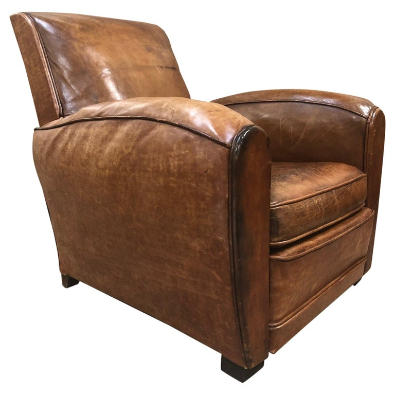 1940s French Art Deco Leather Lounge Chair For Sale At 1stdibs