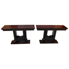 1940s French Art Deco Macassar Ebony Console Tables, a Pair