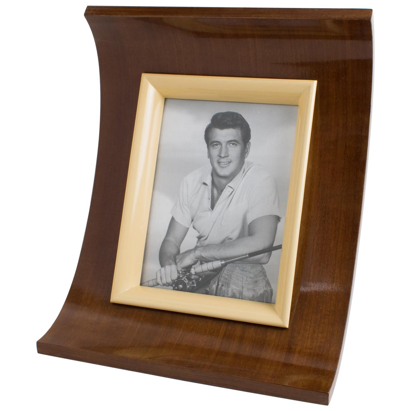 1940s French Art Deco Mahogany and Lacquer Picture Frame