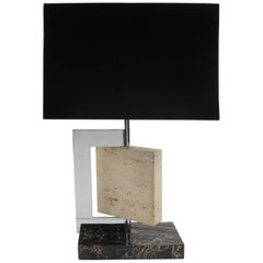 1940s French Art Deco Modernist Marble Travertine and Chrome Table Lamp