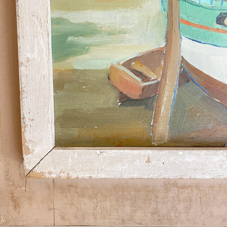 1940s French Art Deco Oil Painting with Harbor Scene For Sale 3