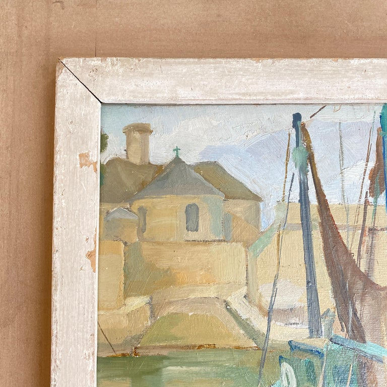 1940s French Art Deco Oil Painting with Harbor Scene For Sale 6