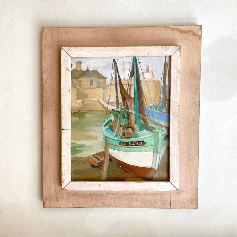 This 1940s oil painting was painted on wood. The Paintings has got very nice colors and a great depth. The painting without the frame is: 31cm x 40cm. A very nice painting to decorate a modern, antique or midcentury interior.