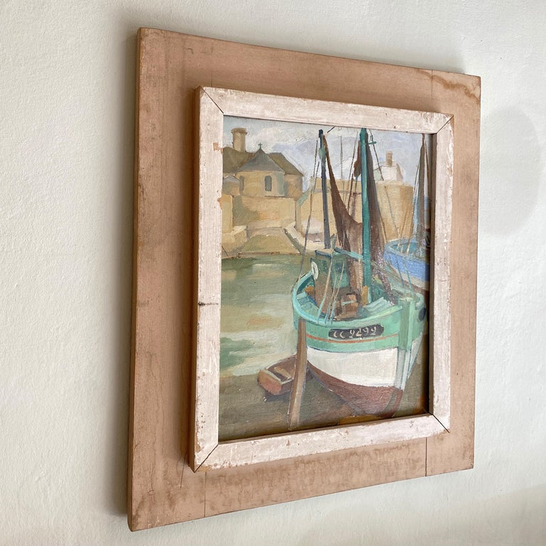 Arts and Crafts 1940s French Art Deco Oil Painting with Harbor Scene For Sale