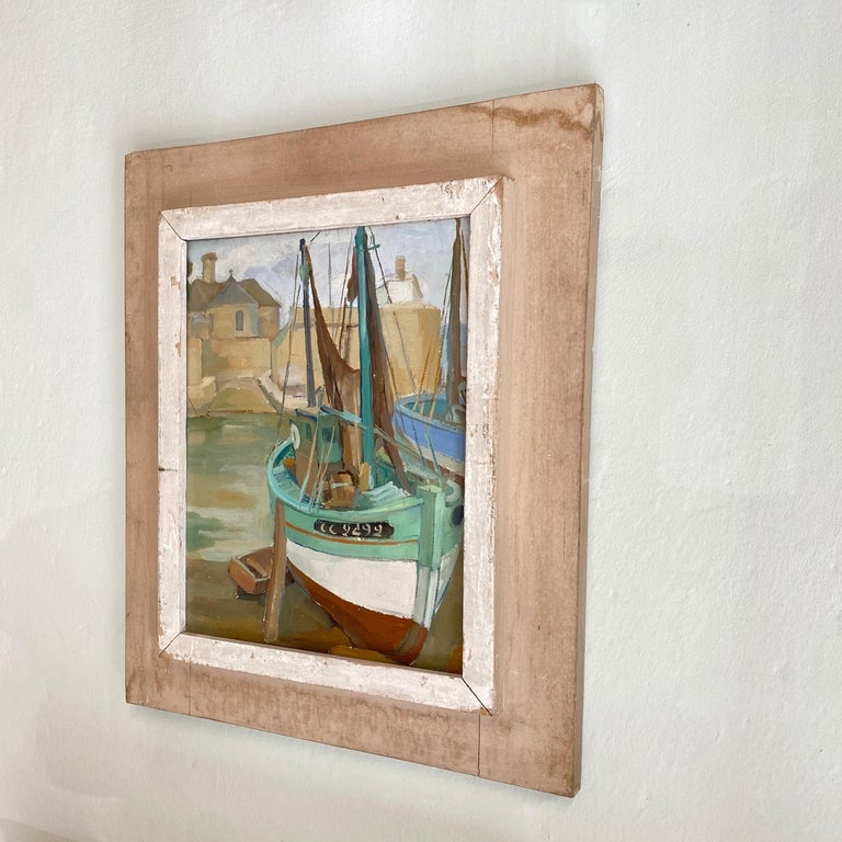 Oiled 1940s French Art Deco Oil Painting with Harbor Scene For Sale