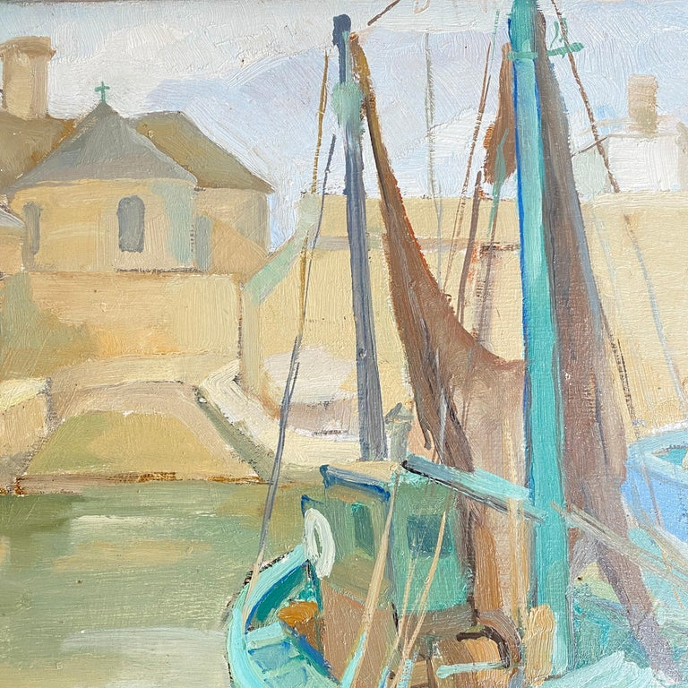 1940s French Art Deco Oil Painting with Harbor Scene For Sale 1