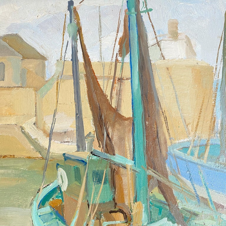 1940s French Art Deco Oil Painting with Harbor Scene For Sale 2