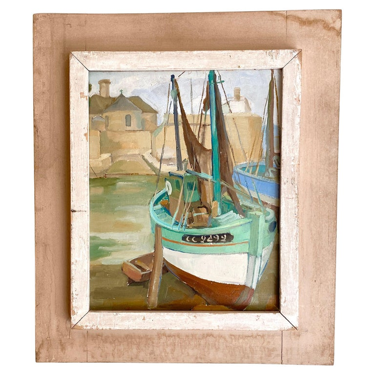 1940s French Art Deco Oil Painting with Harbor Scene For Sale