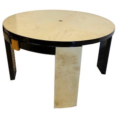 1940s French Art Deco Parchment and Maple Side Table