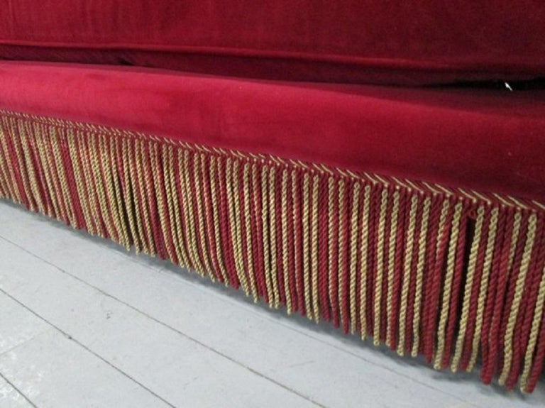 Mid-20th Century 1940s French Art Deco Tufted Mohair Sofa For Sale