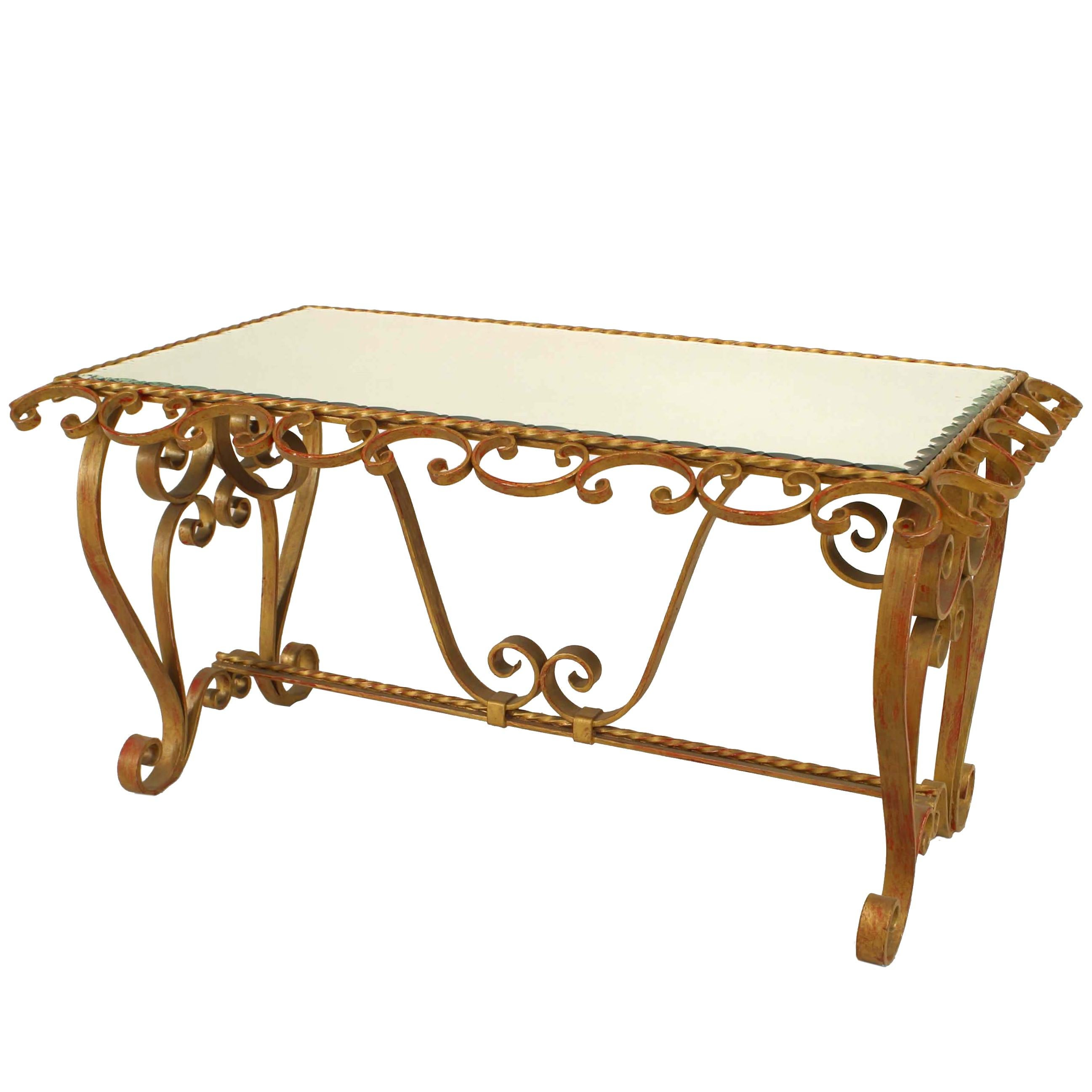 1930s Italian Renaissance Style Gilt Wrought Iron And Gl Coffee Table