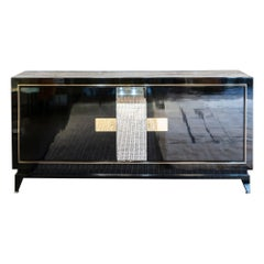 1940s French Black Lacquered Sideboard, Mirror and Brass Details