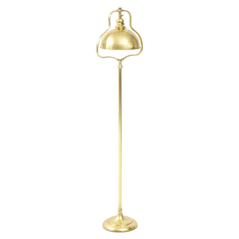 1940s French Brass Floor Lamp For Sale