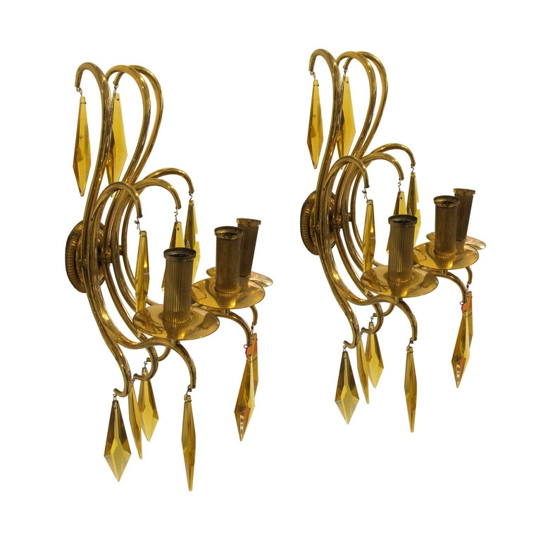 Art Deco 1940s French Bronze and Amber Crystal Wall Lights attributed to André Arbus For Sale