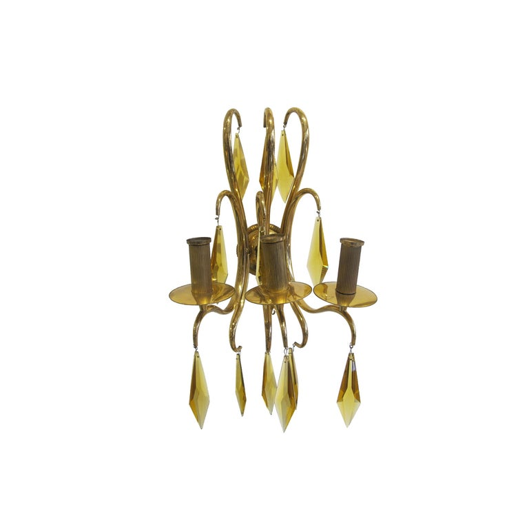Other 1940s French Bronze and Amber Crystal Wall Lights attributed to André Arbus For Sale