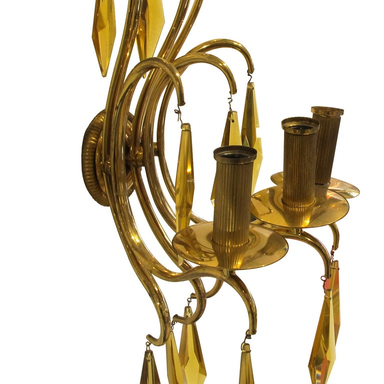 Mid-20th Century 1940s French Bronze and Amber Crystal Wall Lights attributed to André Arbus For Sale