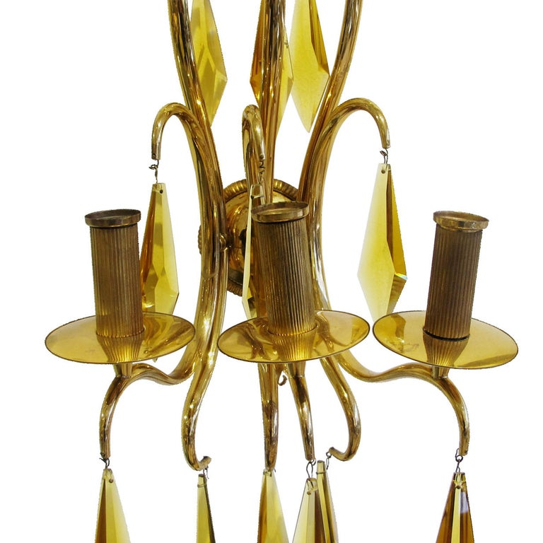 1940s French Bronze and Amber Crystal Wall Lights attributed to André Arbus For Sale 1