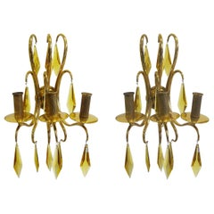 1940s French Bronze and Amber Crystal Wall Lights attributed to André Arbus