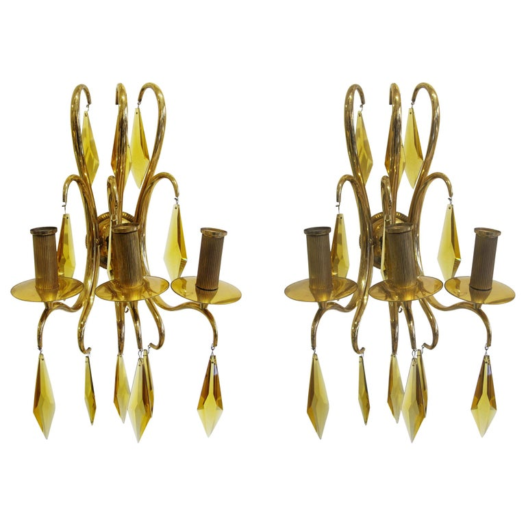 1940s French Bronze and Amber Crystal Wall Lights attributed to André Arbus For Sale