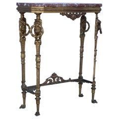 1940's French Bronze and Marble Petite Console