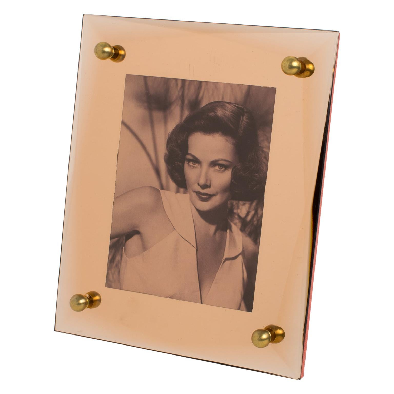 1940s French Copper Pink Mirror Glass Picture Frame