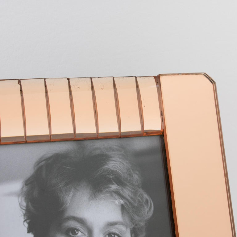 Mid-20th Century 1940s French Copper Pink Mirror Large Picture Photo Frame For Sale