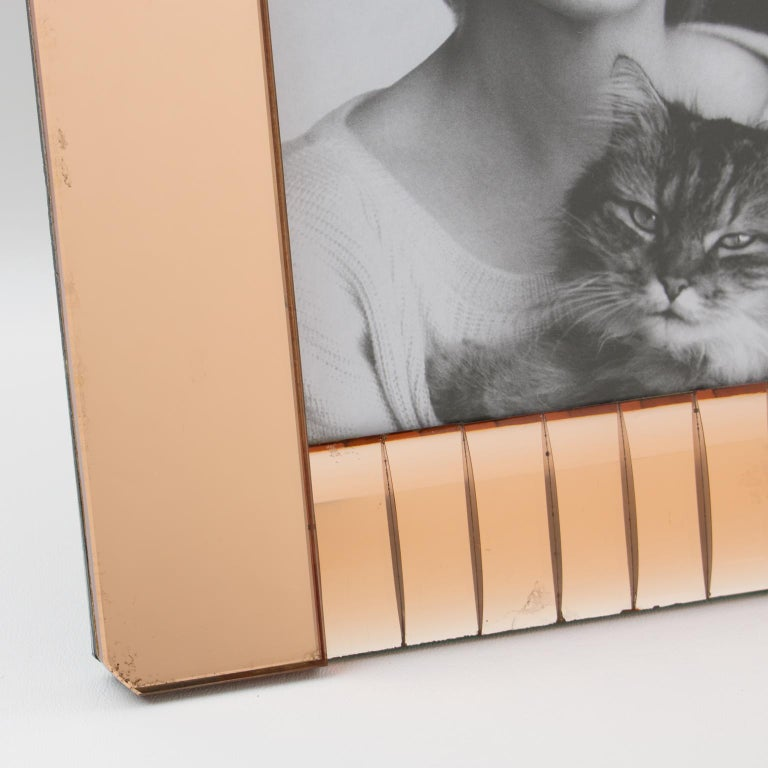 Glass 1940s French Copper Pink Mirror Large Picture Photo Frame For Sale