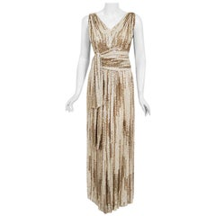1940's French Couture Iridescent Ivory & Gold Sequin Silk Draped Goddess Gown