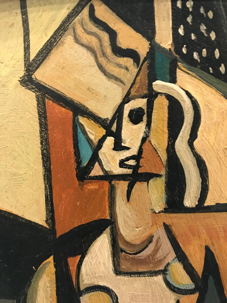 Cubism at it's finest depicting a standing figure in an enclosed space. Simply framed in white, a nice touch to a lonely wall or accent to a larger painting.