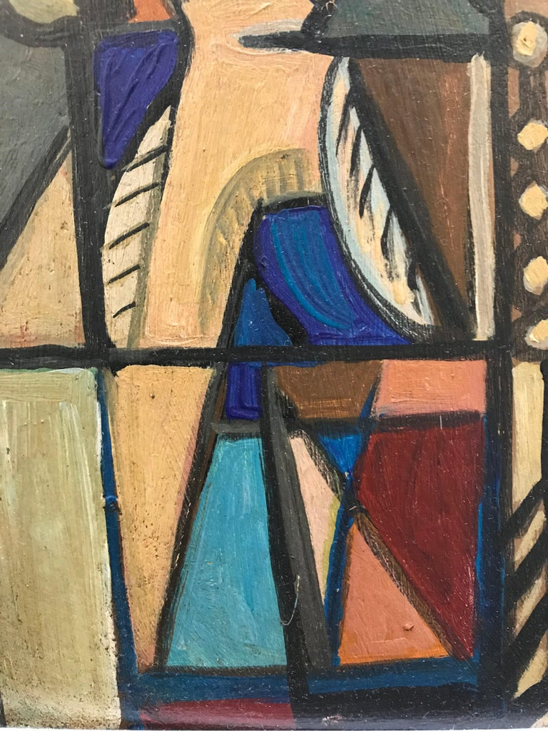 1940s French Cubist Oil Painting on Cardboard In Excellent Condition For Sale In Dallas, TX