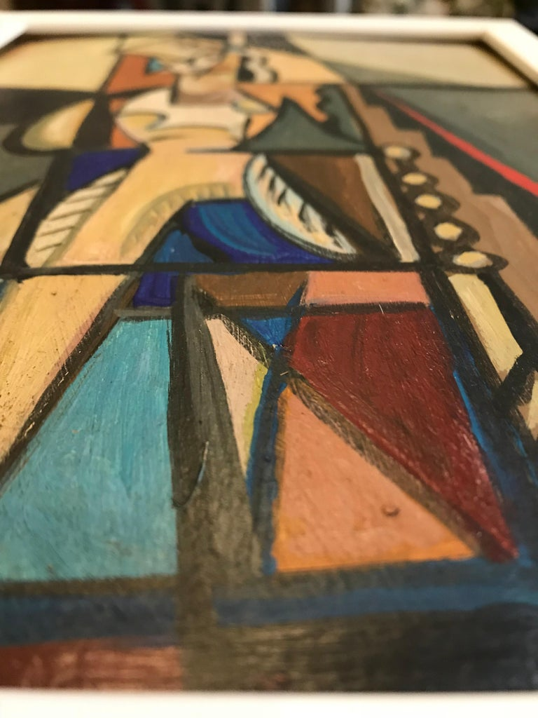 Mid-20th Century 1940s French Cubist Oil Painting on Cardboard For Sale