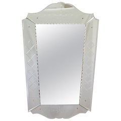1940s French Decorative Venetian Style Wall Mirror Beveling & Geometric Etching