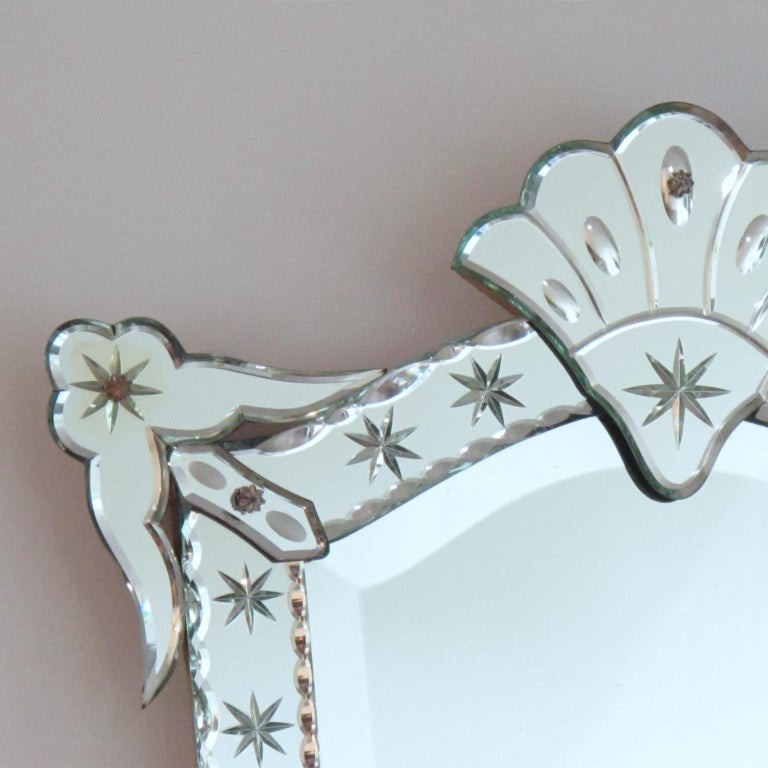 1940s French Decorative Venetian Style Wall Mirror ...