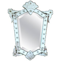1940s French Decorative Venetian Style Wall Mirror Bevelling and Star Etching