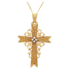 1940s French Diamond and Yellow Gold Cross Pendant