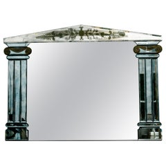 1940s French Églomisé Mirror with Columns