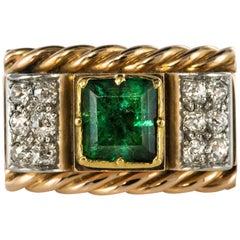 1940s French Emerald Diamond 18 Karat Rose Gold Tank Ring
