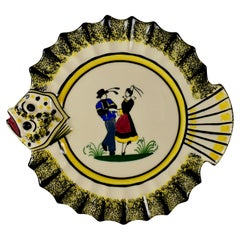 1940s French Faïence Henriot Quimper Brittany Breton Dancers Ruffled Fish Plate