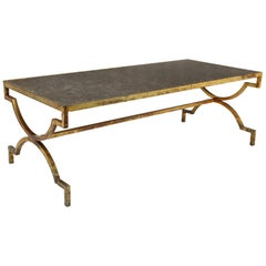 1940s French Gilded Iron Coffee Table with Limestone Top