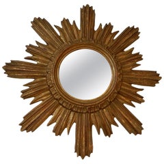 1940s French Gold Gilt Sunburst Starburst Mirror