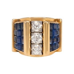 1940s French Gold, Sapphire and Diamond Architectural Ring